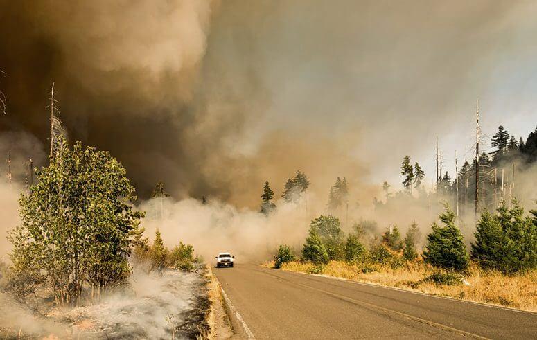 Conducir en zona de incendio