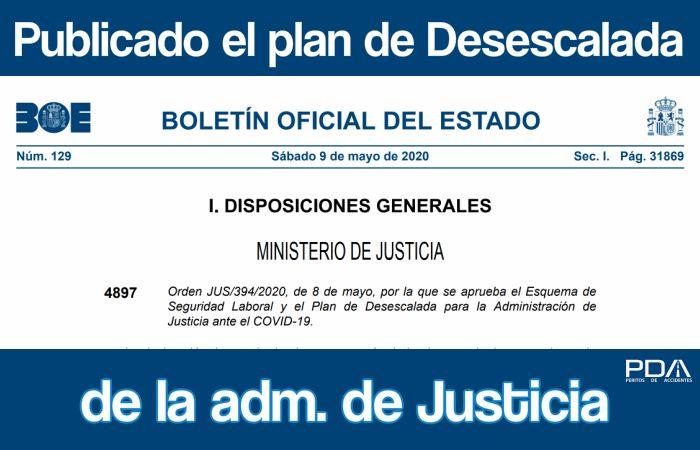 Publicado ya el Plan de DESESCALADA de la Administración de Justicia